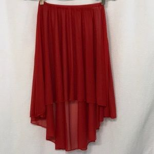 Body Wrappers hi-low ballet skirt in cherry red